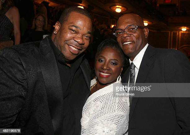 Busta Rhymes LaTanya Richardson and Samuel L Jackson attend the after party for Hamilton Broadway opening night at Pier 60 on August 6 2015 in New...