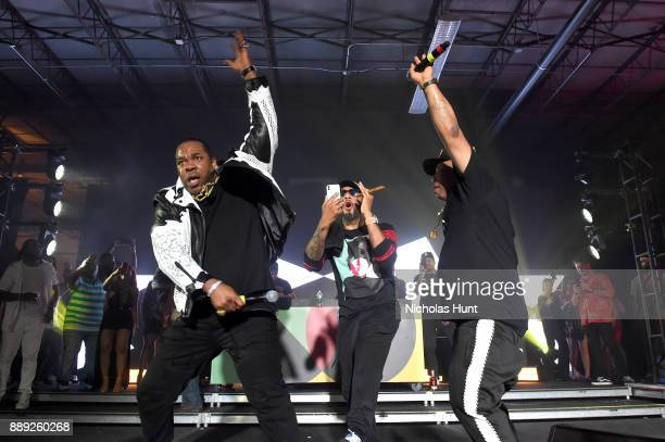 Busta Rhymes Swizz Beatz and Spliff Star perform onstage during BACARDI Swizz Beatz and The Dean Collection bring NO COMMISSION back to Miami to...