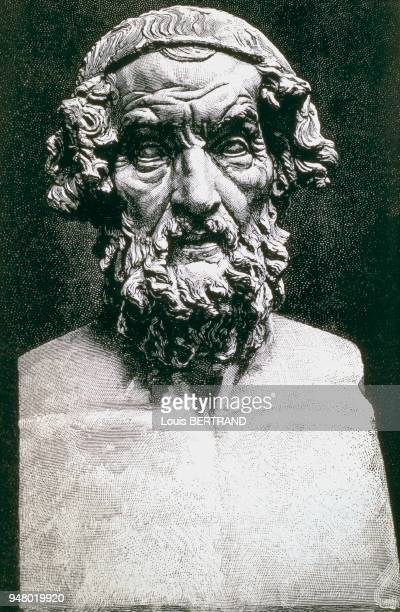 Buste d'HOMERE d'après une gravure dans LA VIE DES GRECS ET DES ROMAINS par G FOUGERES datant de 1894 Buste d'HOMERE d'après une gravure dans LA VIE...