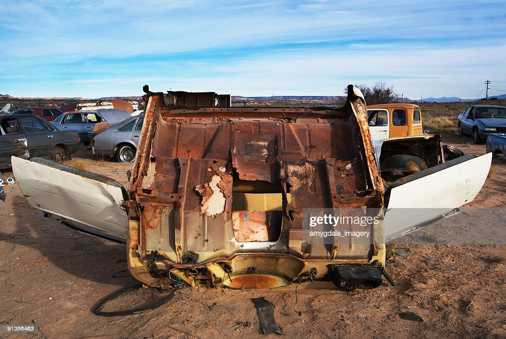 Busted Pick Up Truck At The Junkyard Stock Photo   Getty Images