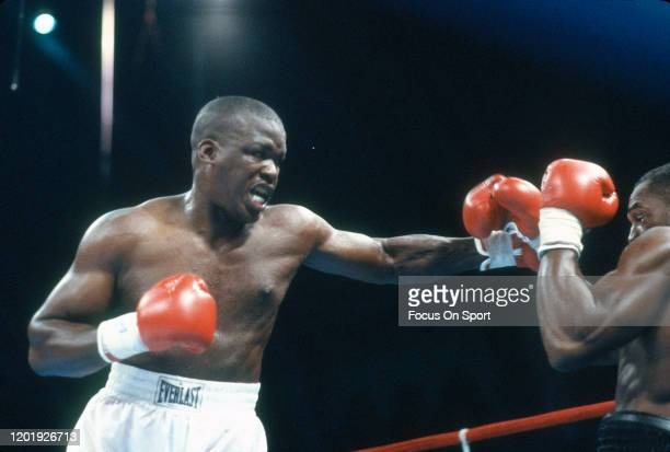 Buster Douglas and Mike Williams fight during heavyweight match on June 27 1988 at the Convention Hall in Atlantic City New Jersey Douglas won the...
