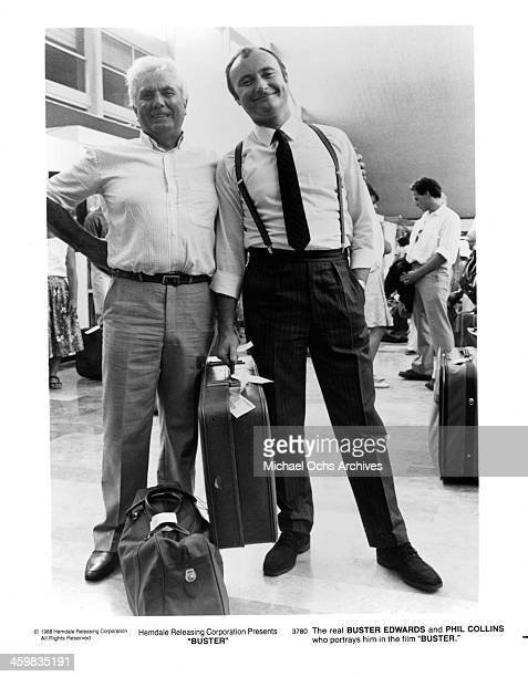Buster Edwards and actor Phil Collins on set of the movie Buster circa 1988