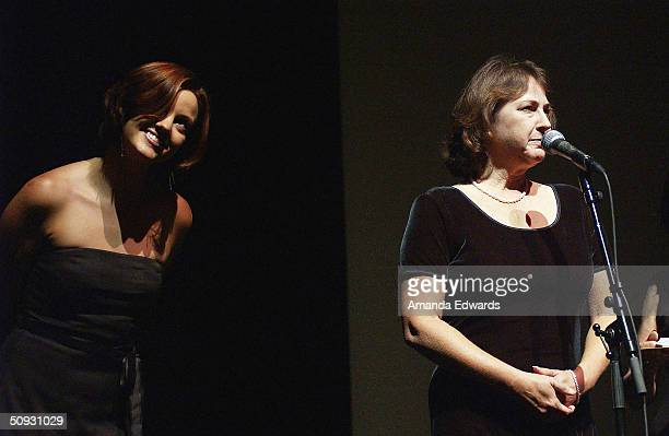 Buster Keaton's granddaughter Melissa Talmadge Cox gives a speech at the 15th Anniversary of the Los Angeles Chamber Orchestra's Silent Film Festival...