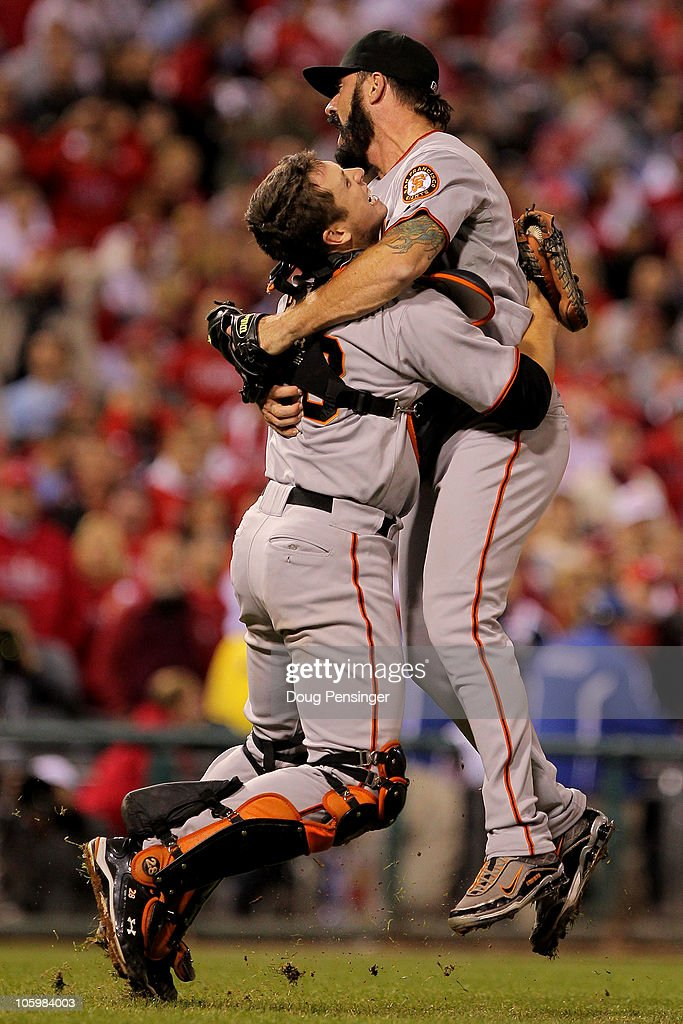 Buster Posey #28 and Brian Wilson #38 of the San Francisco Giants celebrate defeating the Philadelphia Phillies 3-2 and winning the pennant in Game Six of the NLCS during the 2010 MLB Playoffs at Citizens Bank Park on October 23, 2010 in Philadelphia, Pennsylvania.