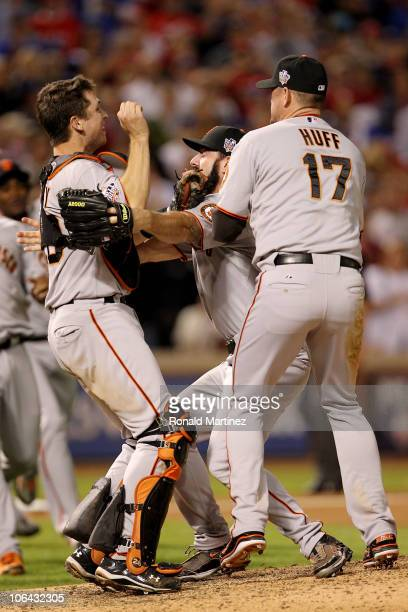 Buster Posey Brian Wilson and Aubrey Huff of the San Francisco Giants celebrate after the Giants won 31 against the Texas Rangers in Game Five of the...