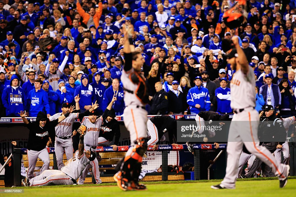Buster Posey #28 , Madison Bumgarner #40, Pablo Sandoval #48 and the San Francisco Giants celebrate after defeating the Kansas City Royals to win Game Seven of the 2014 World Series by a score of 3-2 at Kauffman Stadium on October 29, 2014 in Kansas City, Missouri.
