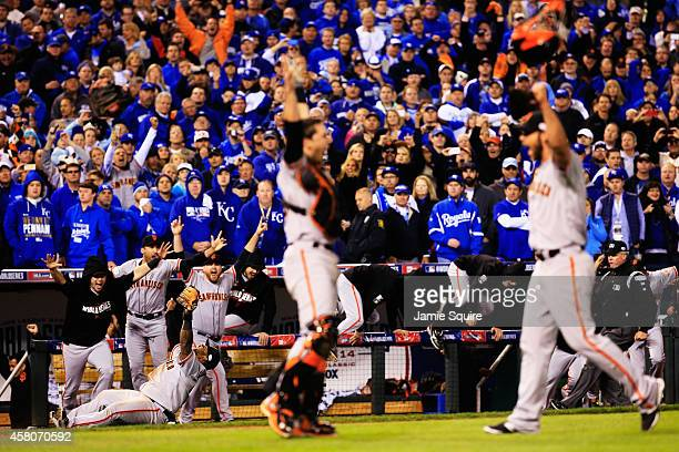 Buster Posey Madison Bumgarner Pablo Sandoval and the San Francisco Giants celebrate after defeating the Kansas City Royals to win Game Seven of the...