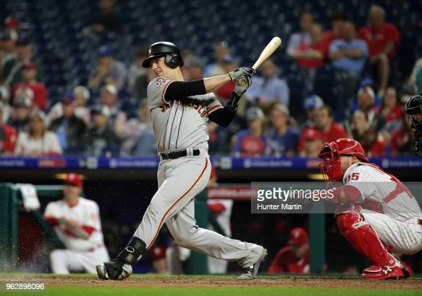 Buster Posey of the San Francisco Giants bats during a game against the Philadelphia Phillies at Citizens Bank Park on May 9 2018 in Philadelphia...