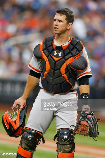 Buster Posey of the San Francisco Giants in action against the New York Mets at Citi Field on August 1, 2014 in the Flushing neighborhood of the...