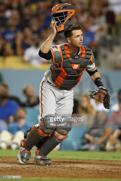 Buster Posey of the San Francisco Giants in action during the game against the Los Angeles Dodgers at Dodger Stadium on September 6, 2019 in Los...