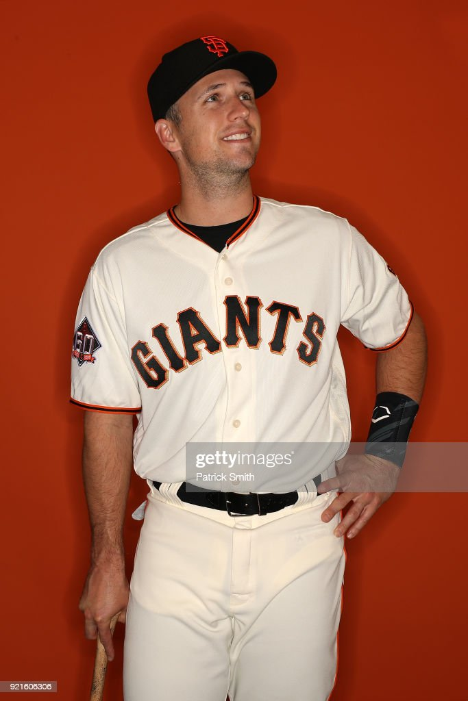 Buster Posey #28 of the San Francisco Giants poses on photo day during MLB Spring Training at Scottsdale Stadium on February 20, 2018 in Scottsdale, Arizona.