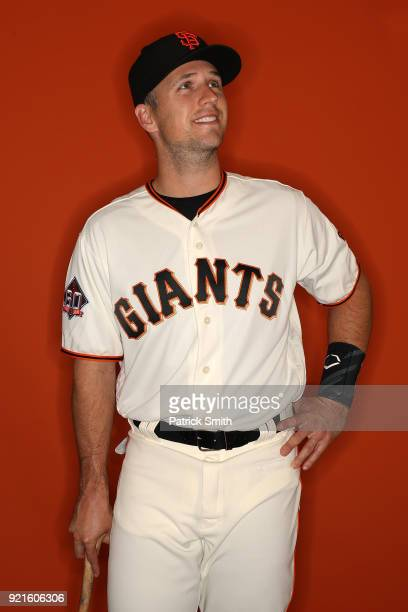 Buster Posey of the San Francisco Giants poses on photo day during MLB Spring Training at Scottsdale Stadium on February 20, 2018 in Scottsdale,...