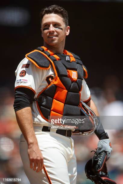 Buster Posey of the San Francisco Giants stands on the field before the game against the New York Mets at Oracle Park on July 21, 2019 in San...