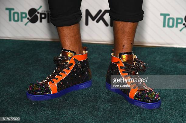 Buster Skrine of the New York Jets sneaker detail attends the 8th Annual TopSpin New York Charity Event at Metropolitan Pavilion on December 1 2016...