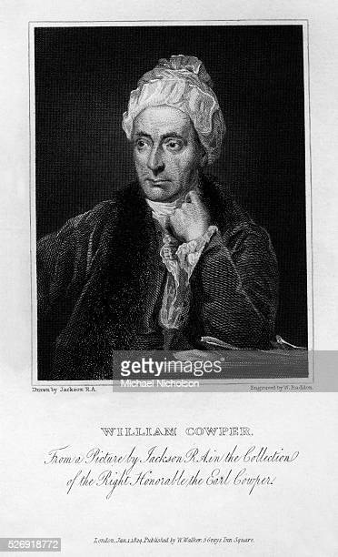 A bustlength portrait of the English poet William Cowper best known for his ballad The Diverting History of John Gilpin and the poem The Task Other...