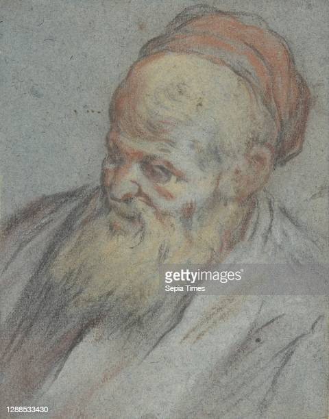 Bust-Length Study of a Bearded Man with Cap in Three-Quarter View, 1510–92, Pastel and charcoal on blue paper, 5 1/4 x 4 1/2in. , Drawings, Jacopo...