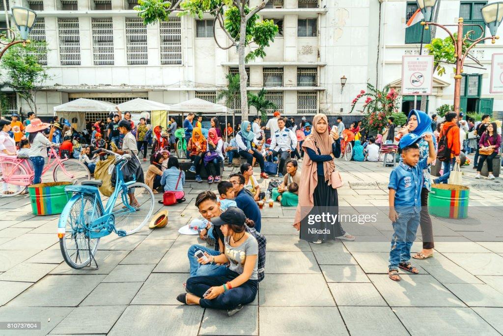 Bustling Fatahilah Square in Jakarta, Indonesia : Stock Photo