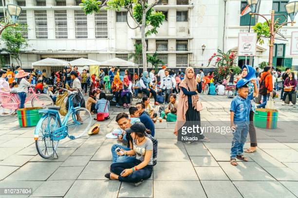 bustling fatahilah square in jakarta, indonesia - jakarta stock pictures, royalty-free photos & images