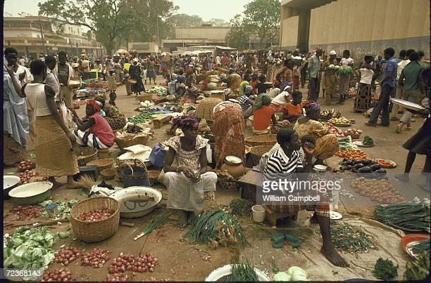 Bustling market scene.