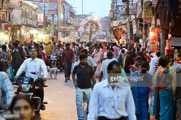 Bustling night time market at Varanasi, India