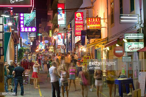 Bustling Nighttime Street on Ibiza