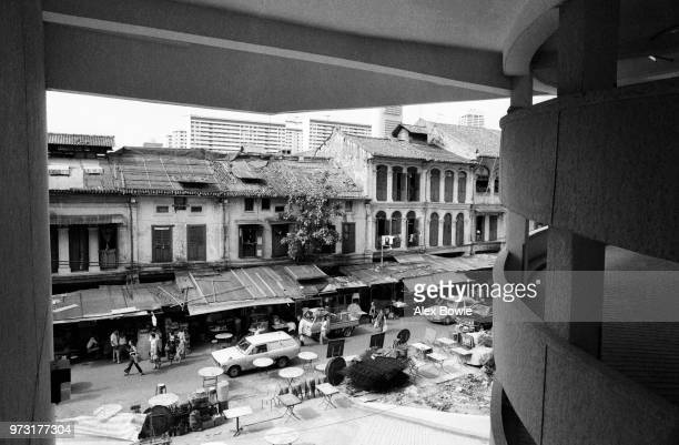 Bustling Smith St seen from the newly built car park of the Kreta Ayer Complex Chinatown Singapore 12 July 1983 After the forced relocation of...