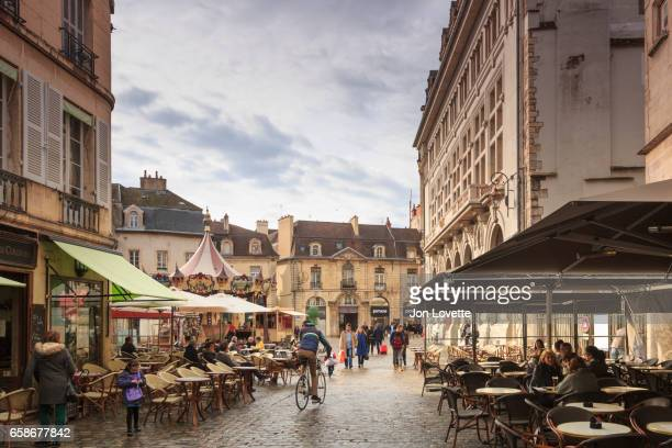 Bustling square in Dijon France