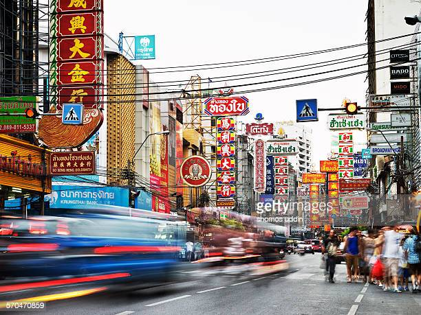 Bustling street of China Town in Bangkok