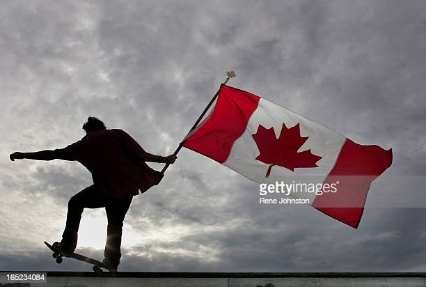 Toronto061705 Skateboarder Mark Bajcar shows his pride at the Vanderhoof Skate Park in Toronto on Friday FOR CANADA DAY WRAP Attn PIKE AND WYNN Mark...