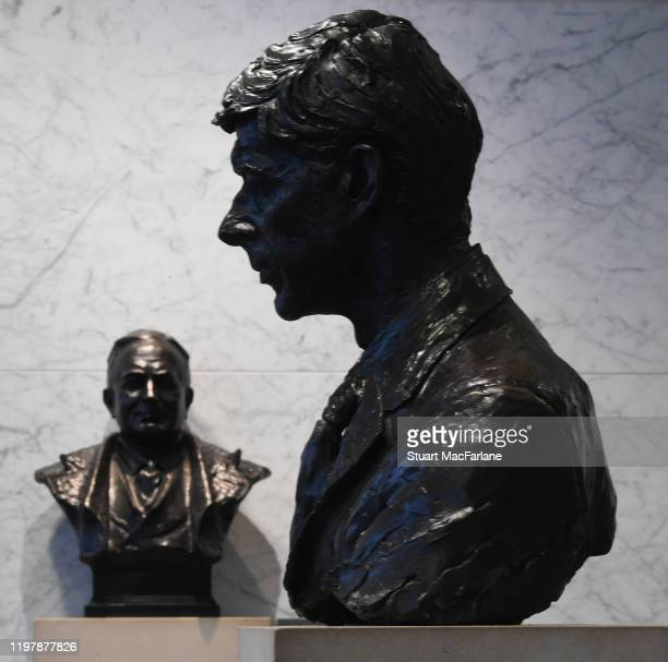 Busts of former managers Arsene Wengerand Herbert Chapman in the Directors entrance at Emirates stadium the FA Cup Third Round match between Arsenal...