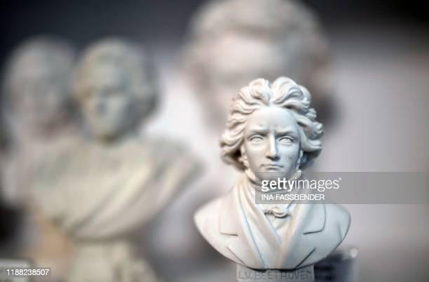 Busts of German composer Ludwig van Beethoven are for sale in a souvenir shop in Bonn western Germany the native city of German composer Ludwig van...