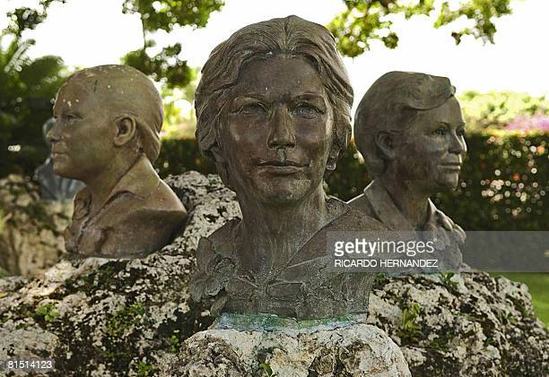 Busts of the Mirabal sisters at the museum in the village of Salcedo 150 km north of Santo Domingo on June 10 2008 The Mirabal sisters were...
