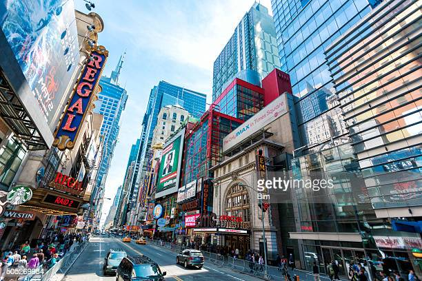 Busy 42nd Street with Theaters, Cinemas and Stores, New York