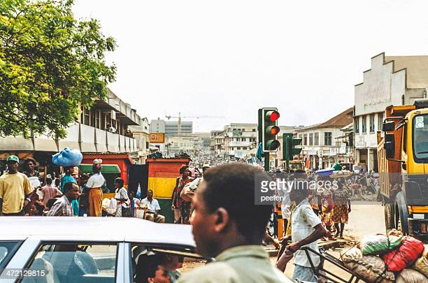 busy african town. - ghana stock pictures, royalty-free photos & images
