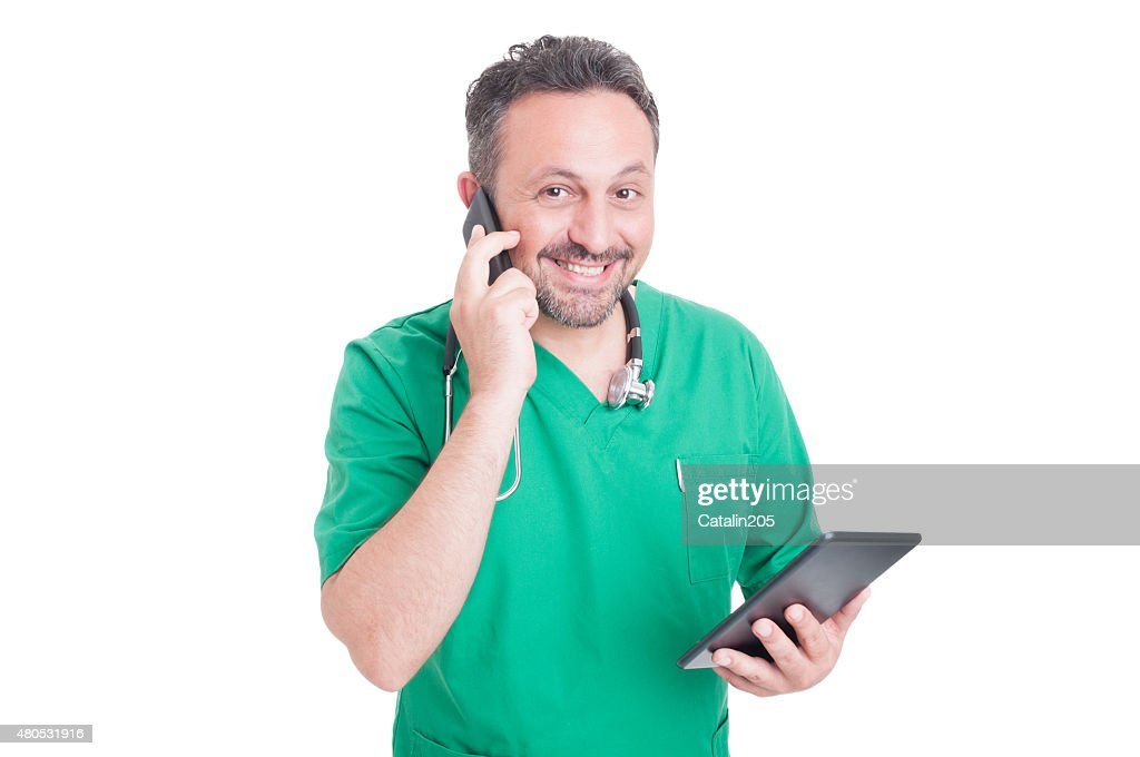Busy and modern doctor multitasking : Stockfoto