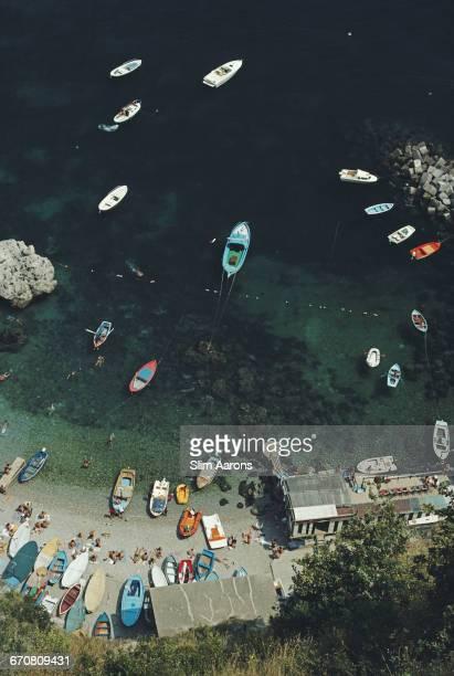 A busy bay in Conca dei Marini on the Amalfi coast in Italy August 1984