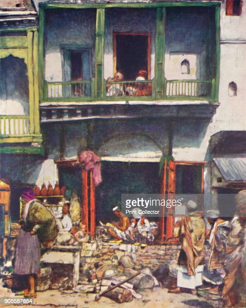 'A Busy Bazaar in Delhi' 1905 From India by Mortimer Menpes Text by Flora A Steel [Adam Charles Black London 1905] Artist Mortimer Luddington Menpes