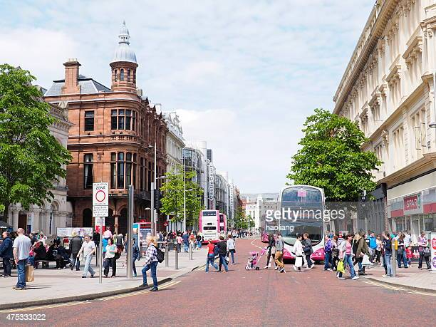 busy belfast street - belfast stock pictures, royalty-free photos & images