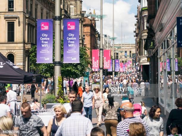 Busy Buchanan Street in central Glasgow, Scotland
