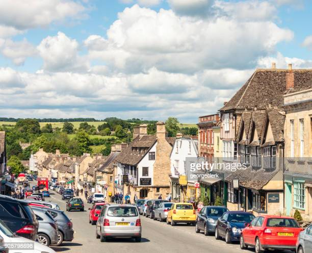 busy burford in summer - oxfordshire stock pictures, royalty-free photos & images