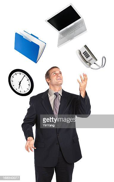 Busy Businessman Juggling Business Time Multi-Tasking on White Background