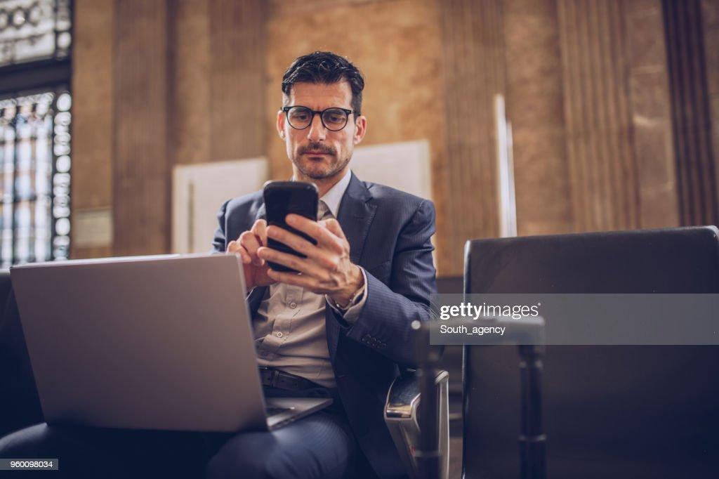 Beschäftigt Geschäftsmann : Stock-Foto