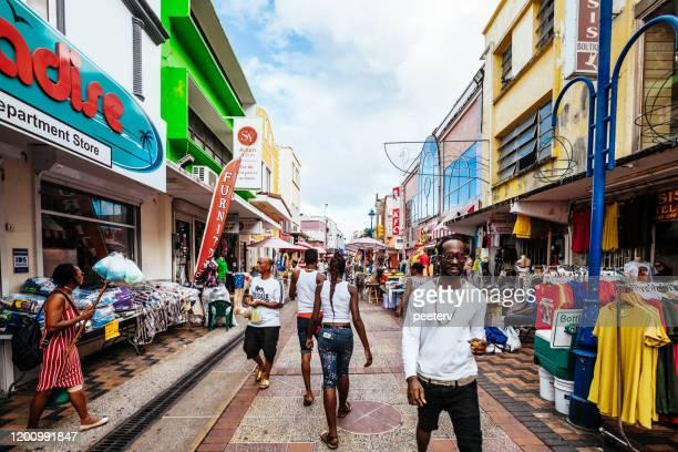 busy caribbean city - bridgetown, barbados - bridgetown barbados stock pictures, royalty-free photos & images