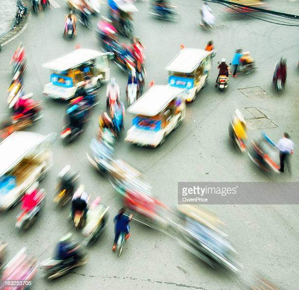Busy chaotic traffic Hanoi Vietnam Motion blurred