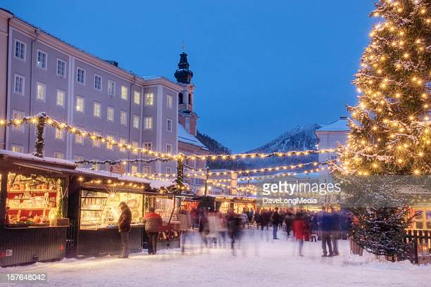 Busy Christmas Market in Europe