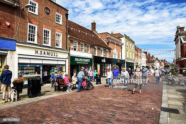 busy city street. in chichester, west sussex, england - chichester stock pictures, royalty-free photos & images