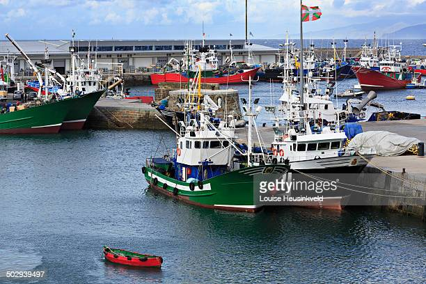 Busy commercial fishing port of Getaria, Spain