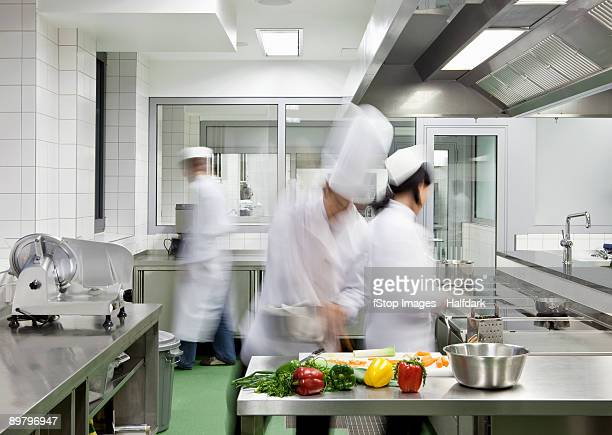 A busy commercial kitchen