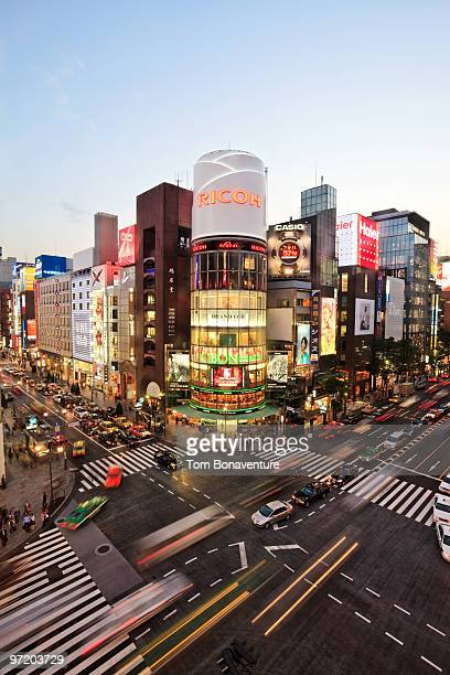 busy crossing in ginza - ginza stock pictures, royalty-free photos & images