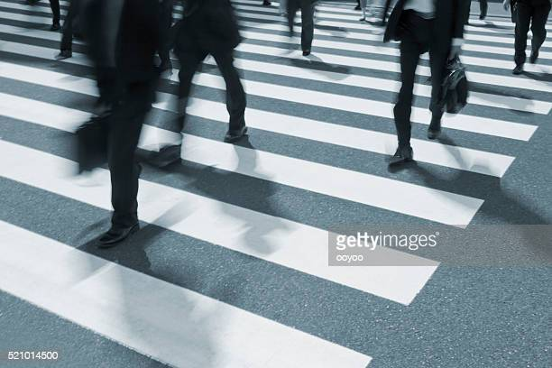 Busy Crosswalk Scene